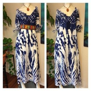 Long Blue Tye Dye Maxi Dress